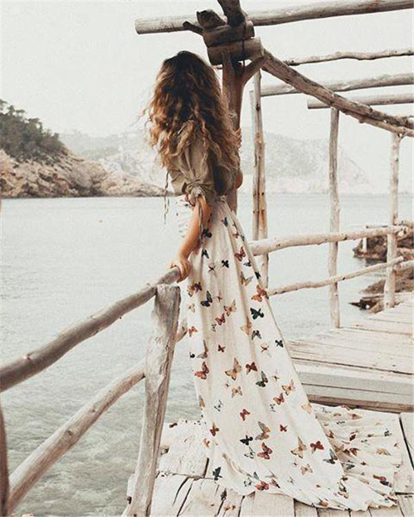 Random  Butterfly Printed Off Shoulder Fashion Summer Beach Dresses