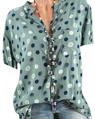 Band Collar Loose Fitting Dot Blouses