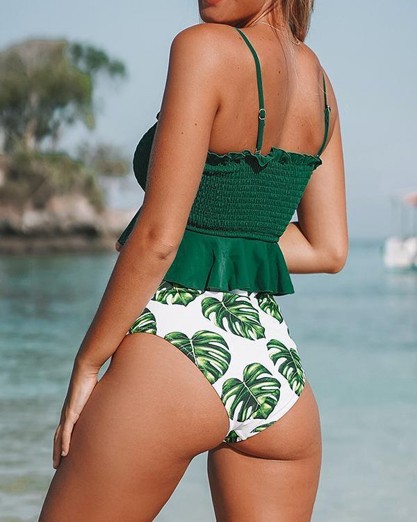 Leaf Print High Waist Bikini Sets