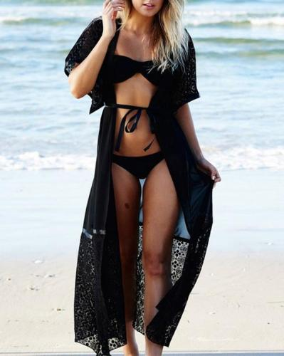 Decorative Lace Plain Kimono Swimwear Cover Ups