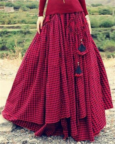 Plaid Swing Vintage Floor-Length Skirts