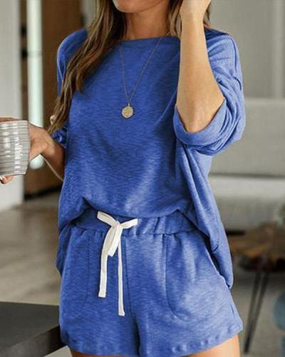 Round Neck Long Sleeves Solid Color Attractive Top & Short Sets
