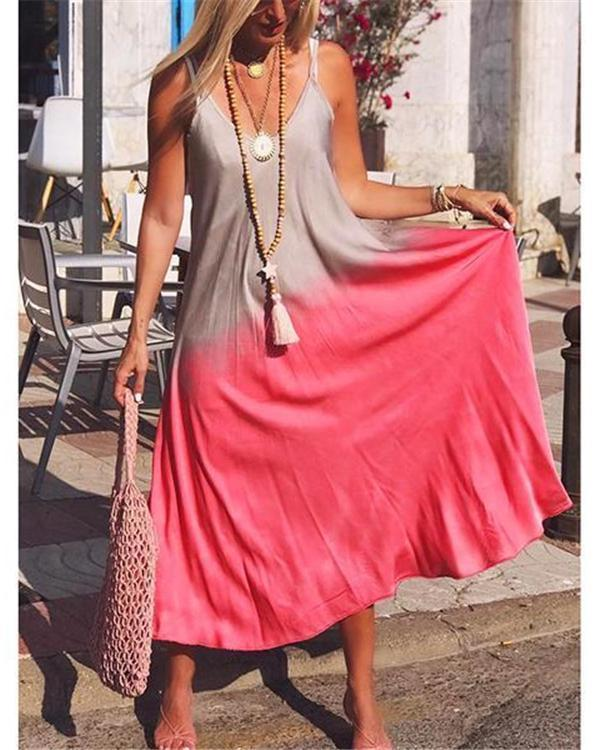 Women Bohemian Casual V Neck Sleeveless Maxi Dresses