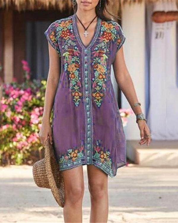 Plus Size Bohemian Embroidery V Neck Mini Dress