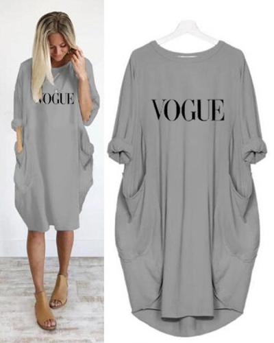 Summer Women Letter Printed Casual Pockets Plus Size Dress