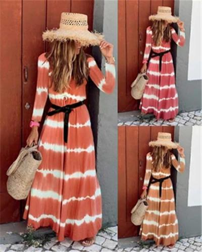 Fall Dress Wave Printed Long Sleeve Women's Maxi Dress