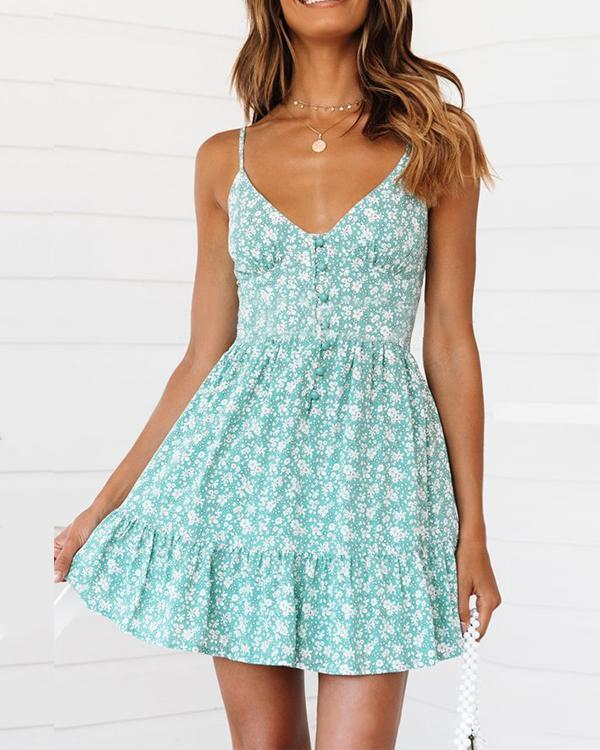 Printed Sexy Sling Sleeveless Dress