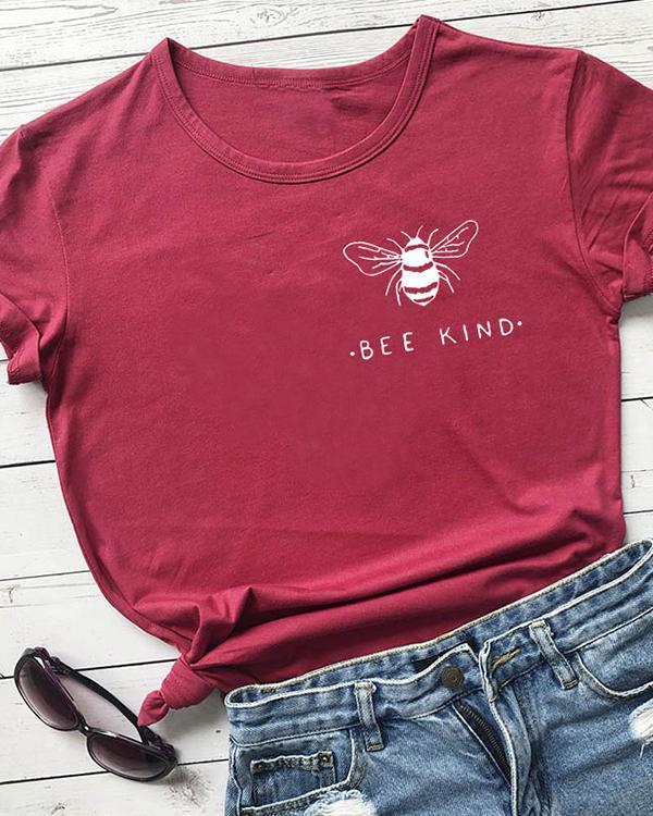 Bee Kind Pocket Print Tshirt Women Tumblr Save The Bees Graphic Tees Shirt