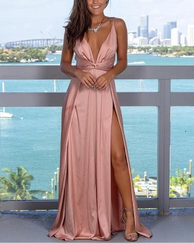 Fashion Strap Solid Color Beach Maxi Dress