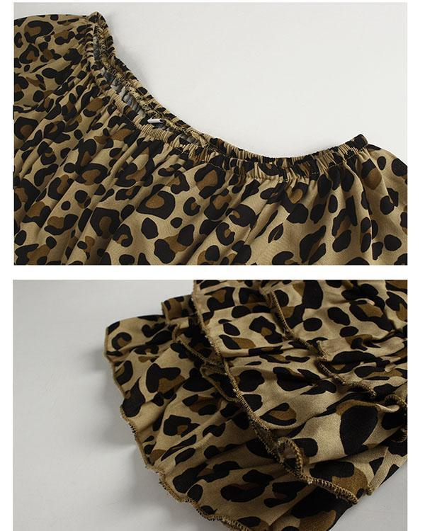 Leopard Print Off-Shoulder Flounce Sleeve A-line Dress