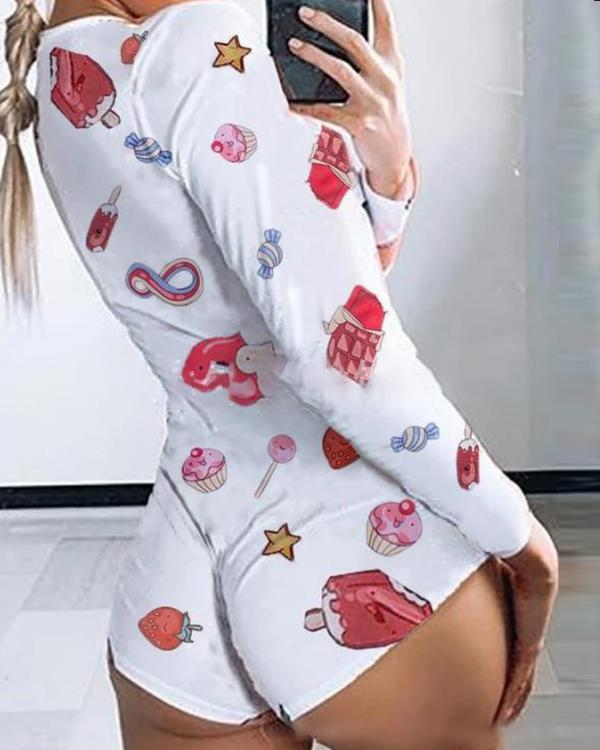 Women Candy Print Slim Fit Romper