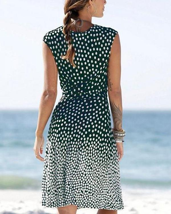 Casual Summer Polka Dot V Neck Mini  Dress