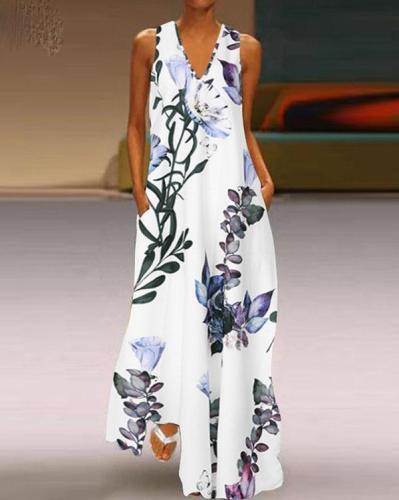 Fashion Summer Sundress Women Long Maxi Vestidos Floral Printed Bohemian Dress