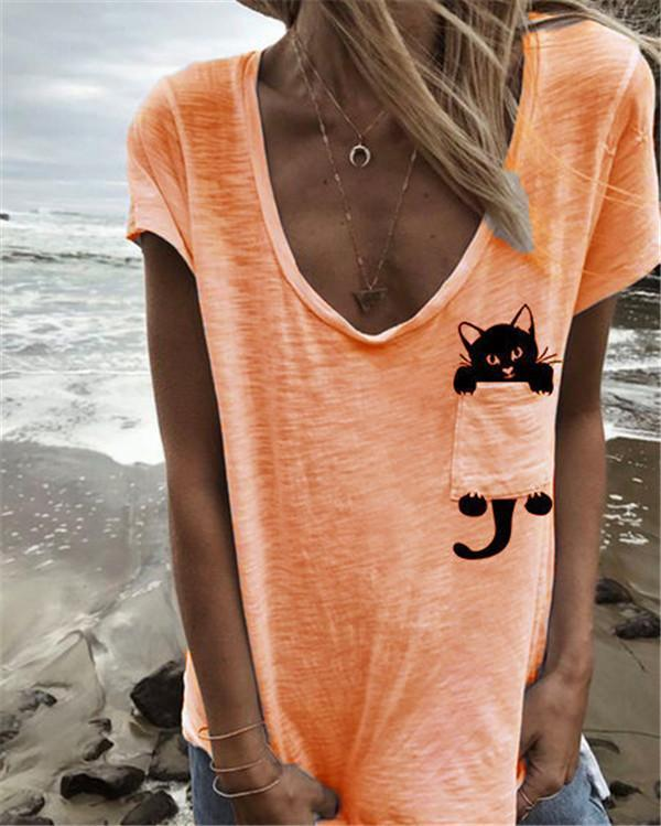 Plus Size Cute Cat Summer Solid Women Holiday Blouse