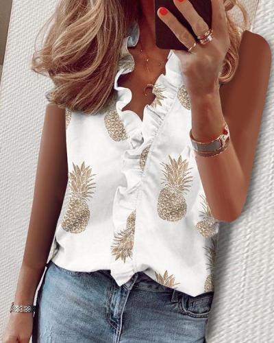Casual Ruffled V-neck T-shirt Sleeveless Printed Tops