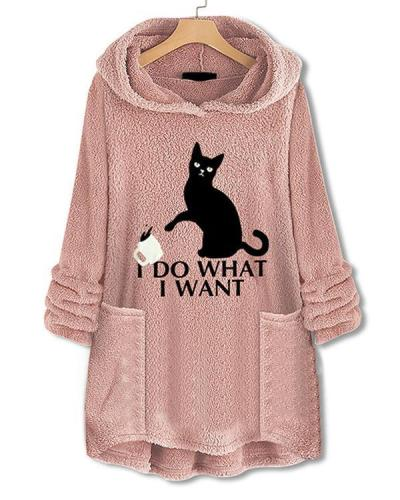 Casual Pockets Print Cat Fleece Hoodies