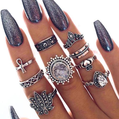 Jewelry-Vintage Ethnic Style Exaggerated Gemstone Rings Set