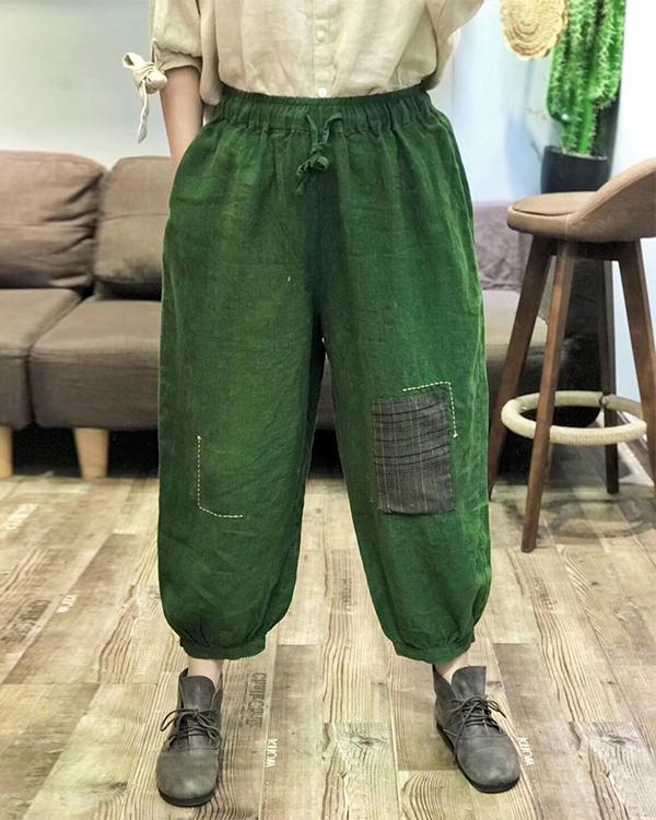 Retro Elastic Linen and Cotton Embroidery Pants