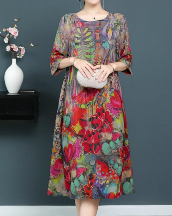 Plus Size Elegant Floral 3/4 Sleeves Midi Shift Dress