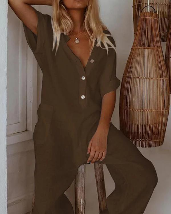 Plus Size Casual Short Sleeve Solid Pockets Jumpsuits