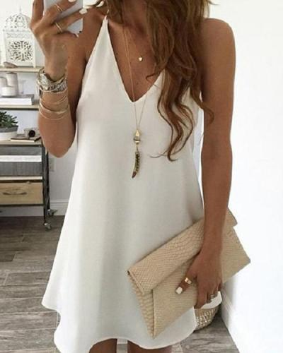 Elegant Sleeveless Sexy Solid Mini Dress