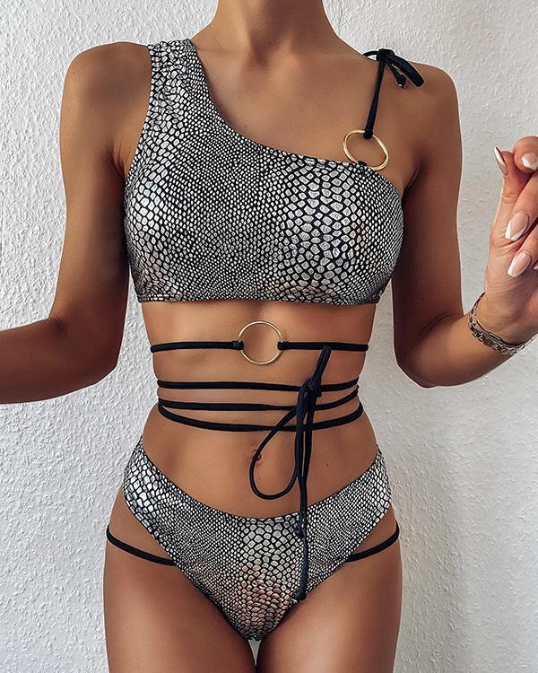 Ring Knot Asymmetrical Neck Bikini