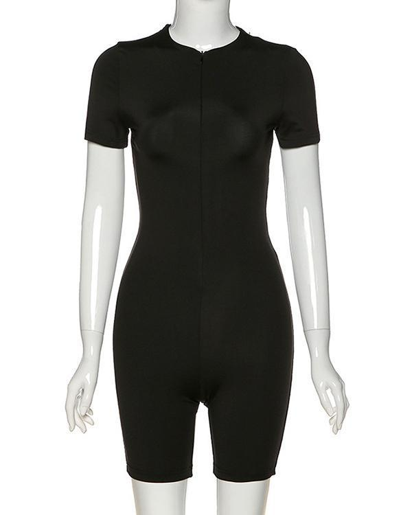 Women's Suit Tight Zip Down Sports Rompers