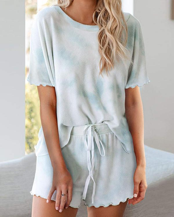 Printed Ruffle Soft Top and Pants PJ Set Nightwear Sleepwear Loungewear