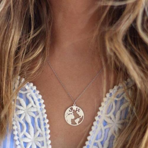 Jewelry-World Map Necklace Clavicle Chain
