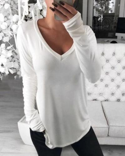 Casual Long Sleeve Bottoming T-Shirt