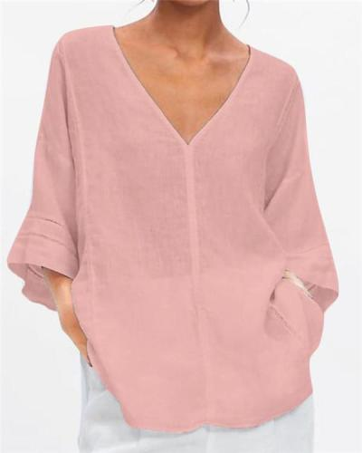 3/4 Sleeve V Neck Summer Solid Women Holiday Blouse