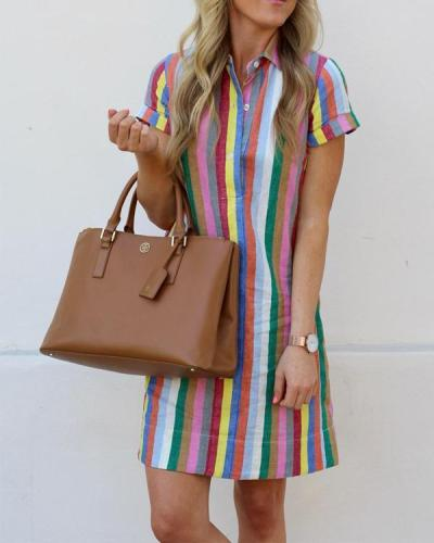 Fashion Short Sleeve Turn Down Collar Striped Dresses