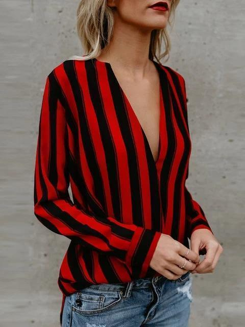 Red Stripes Chiffon Long Sleeve Shirts Blouse