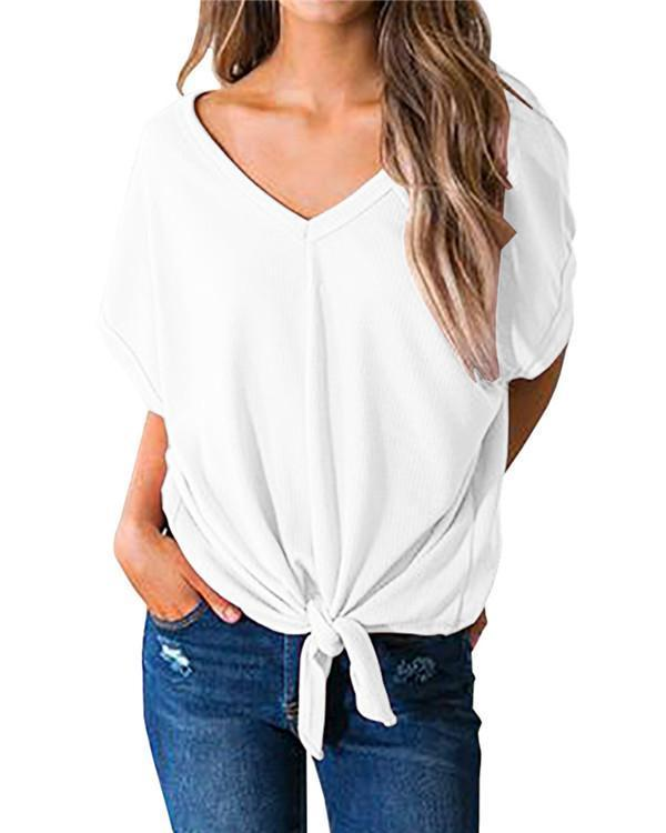 Casual V Neck Holiday Casual Short Sleeve Blouse