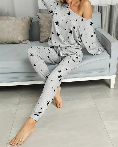 Stars Print Casual Top & Pant Set