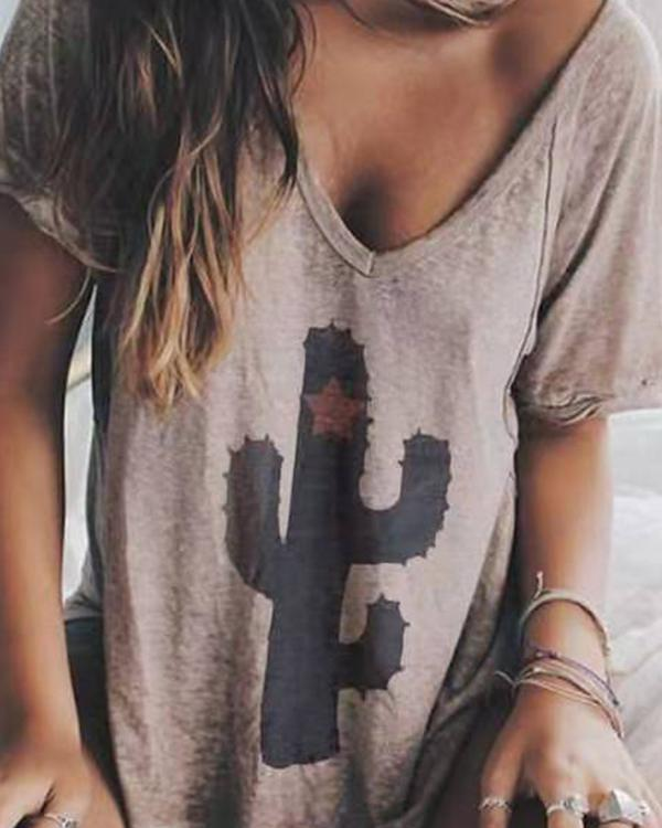 Casual V-neck Printed Short Sleeve Shift Shirts & Tops