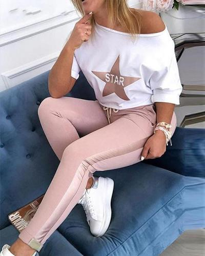 Women Spring sexy off shoulder Elastic Waist Tracksuit sets