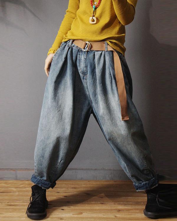 Vintage Denim Loose Elastic Waist Pants