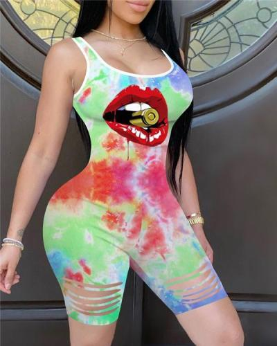 Lip Tie Dye Print Ladder Cutout Fitted Romper