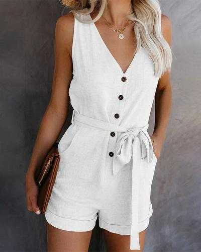 Casual V-neck Button Belt Sleeveless Rompers jumpsuit