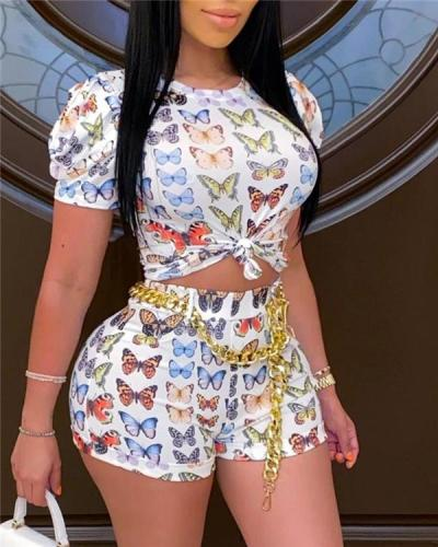 Butterfly Print Short Sleeve Top & Short Set