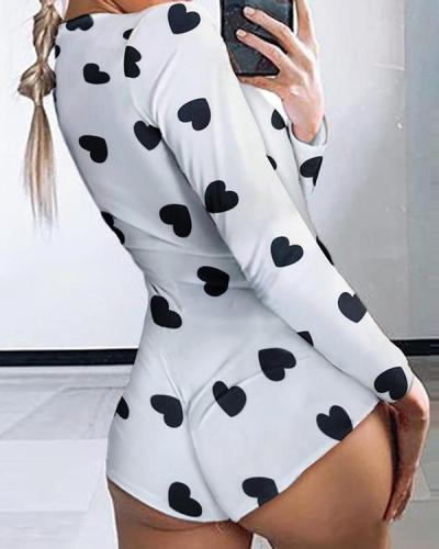Low Cut Long Sleeve Print Lounge Romper