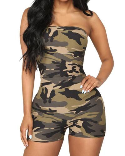 Women Sexy Solid//Camo Strapless Rompers