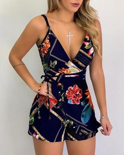Sleeveless Printed Sling Romper
