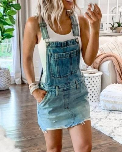 Women Casual Denim Romper Mini Dress