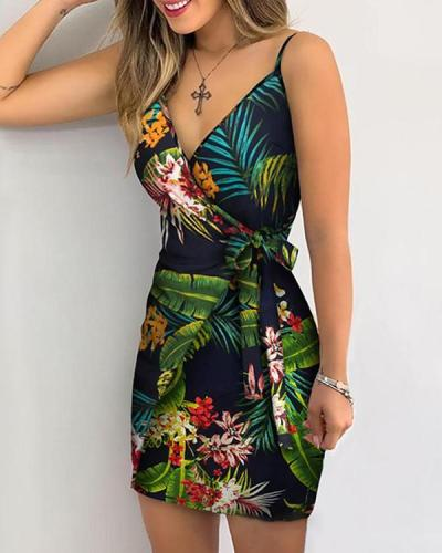 Women V Neck Leaf Print Mini Dress