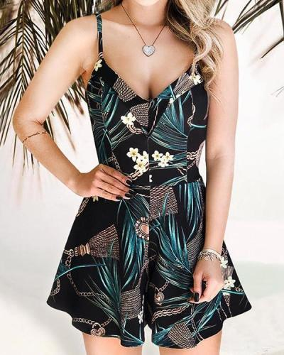 Floral V-Neck Spaghetti Strap Romper without Necklace