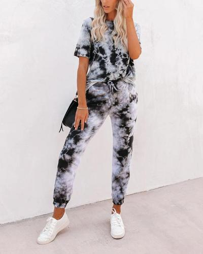 Tie Dye Lougewear Short Sleeves Top And Pants Sets
