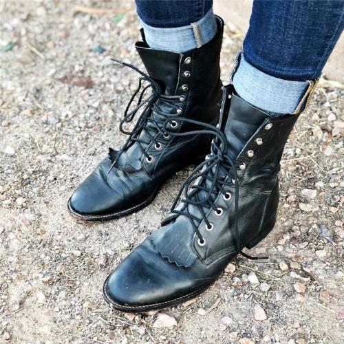 Women Vintage Soft Leather Lace Up Boots With Fringe