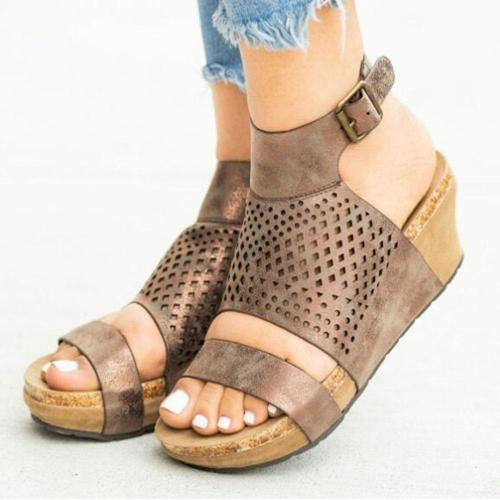 Large Size Women Breathable Open Heel Hollow Buckle Platform Sandals
